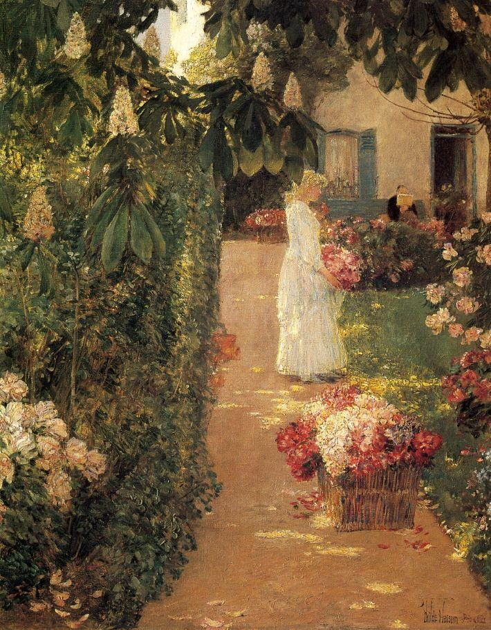 Frederick-Childe-Hassam-xx-Gathering-Flowers-in-a-French-Garden-xx-Worcester-Art-Museum