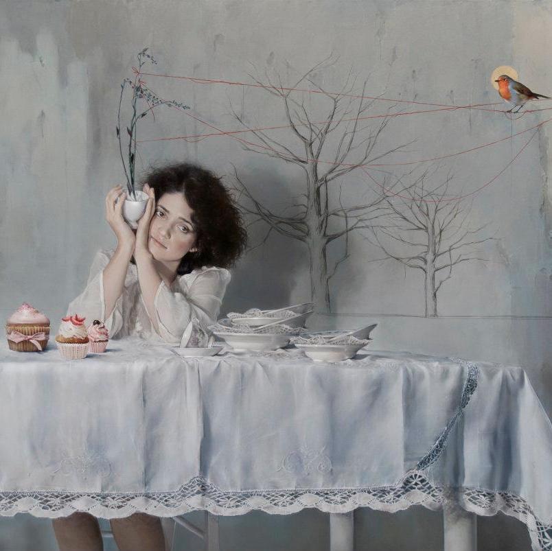 Elisa Anfuso, Come se poi non avessimo che piume tra bisogni e desideri - Olio e pastelli su tela, cm 100x120, 2012