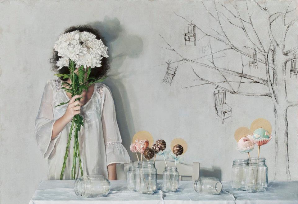Elisa Anfuso, Delle tentazioni e di altre consuetudini, Olio e pastelli su tela, cm 100x80, 2012