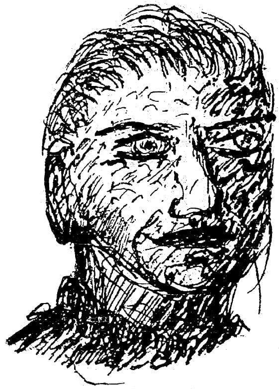 Giovanni Comisso, ritratto a inchiostro di Sereno Carli, 1932.