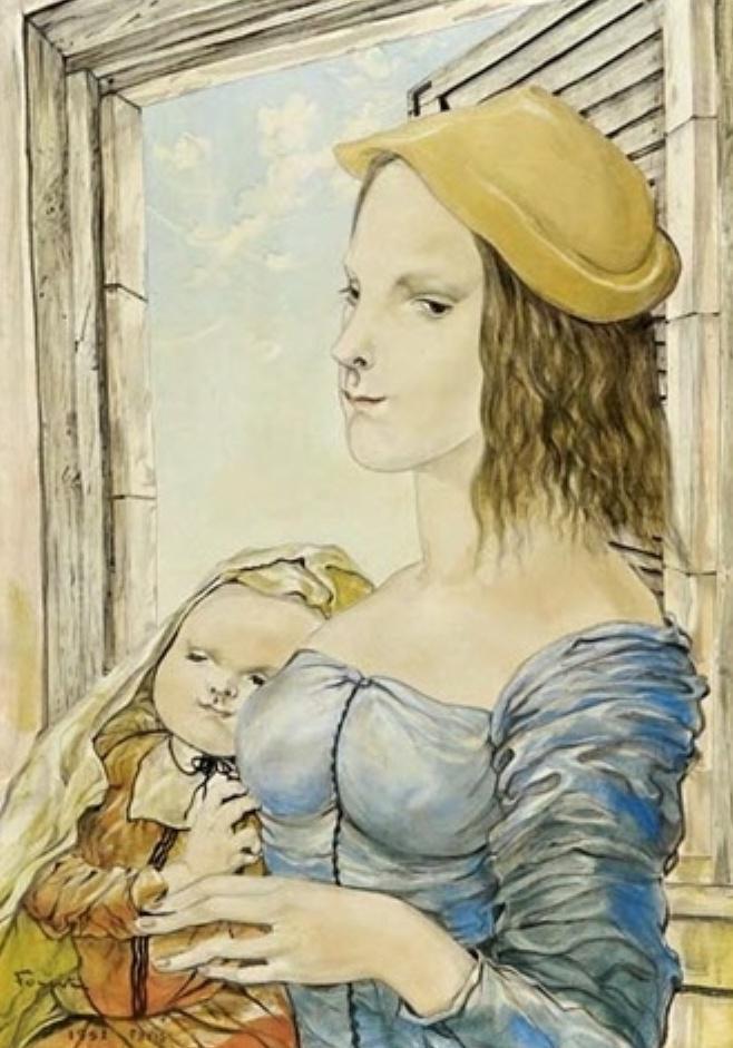 Mamma e figli - In questo dipinto Foujita rappresenta un soggetto tipicamente occidentale che si mescola perfettamente con la tecnica del sumi-e orientale CENCELLI  (1)