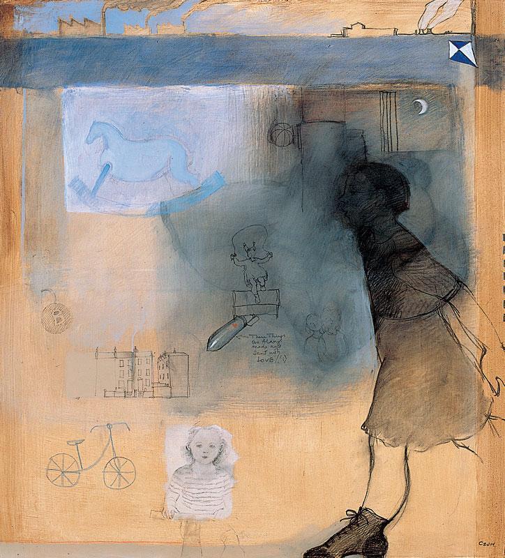 Story, 2006, acrilico, carboncino e grafite su tela, cm. 100x100