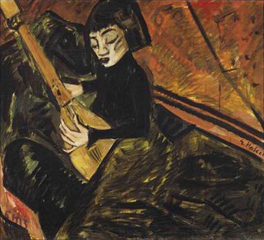 Erich Hecke, ragazza che suona il liuto 1913, olio su tela cm 72x79 Brucke Museum, Berlino X ART LAURA CAV
