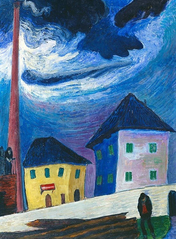 Marianne von Werefkin (1860-1938), Nocturnal street scene in front of factory building, n.d.