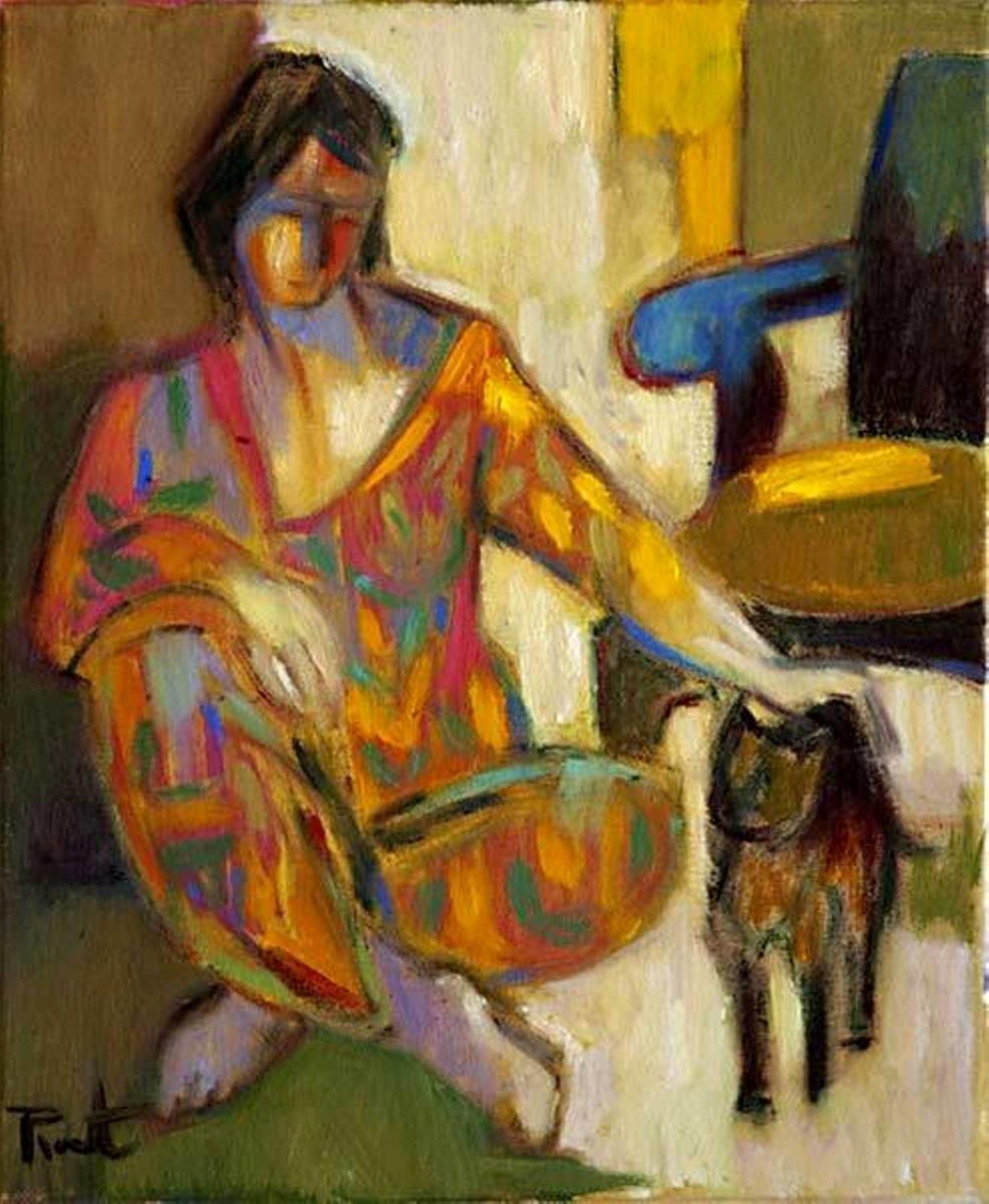 Pierre Pivet, Young Girl with a Cat, 1948